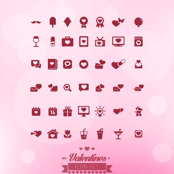 Flat Minimalist Valentine Icons - Free vector #173023