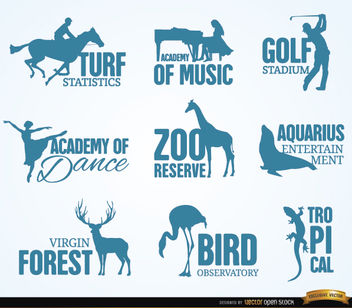 Recreation and animal logos - Free vector #173043