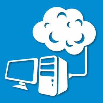 Abstract Desktop PC Connected to the Cloud - vector gratuit #173243