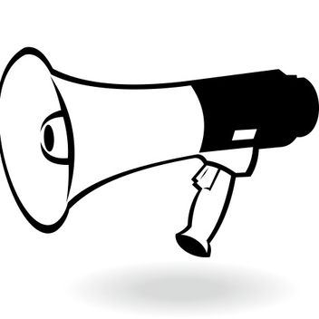 Flat Black & White Portable Megaphone - Free vector #173273