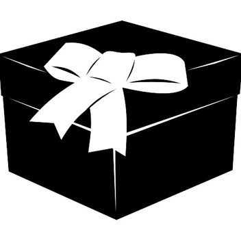 3D Black & White Flat Gift Box with Ribbon - vector gratuit #173303
