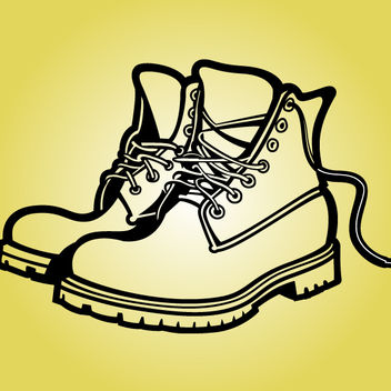Pair of Fat Sole Outline Boots - Kostenloses vector #173583