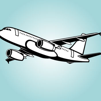 Black & White Big Passenger Airbus - Kostenloses vector #173593