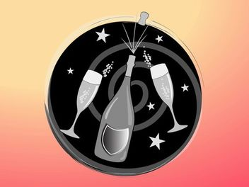 Funky Celebration Icon with Champagne & Glass - vector gratuit #173613