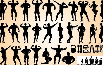 Body Builder Set Silhouette - vector gratuit(e) #173663
