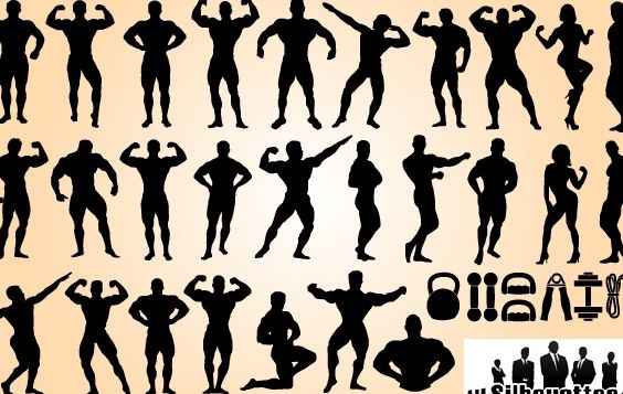 Body Builder Set Silhouette - Free vector #173663