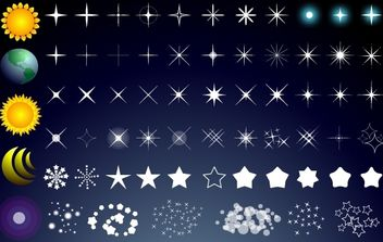 Star Pack with Sun Moon and Globe - Free vector #173733