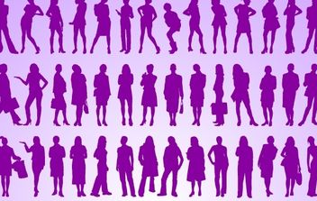 Girls Standing Pack Silhouette - бесплатный vector #173753