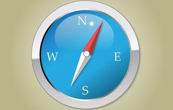 Blue Glossy Compass Icon - Free vector #174083