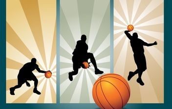 Basketball Playing Movement Silhouette - vector gratuit #174133