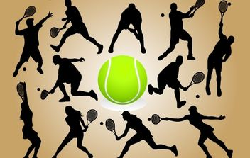 Silhouette Tennis Player Pack - Free vector #174163