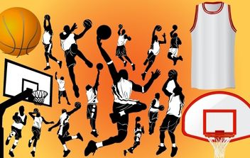 Basketball Player and Stuff - Free vector #174173