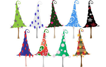 Colorful Christmas Trees - Free vector #175103