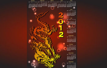 Dragon Calendar for 2012 - Free vector #175153