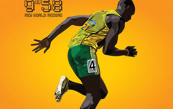 Usain Bolt New World Record 9.58 - Free vector #175333