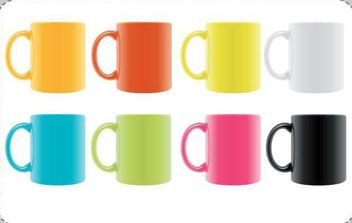 Vector Set of Colorful Realistic Cups - vector gratuit(e) #175823