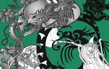 Wizard & Dragon Vectors - Free vector #176203