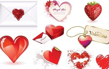Valentines Day Heart Vector Set - Free vector #176413