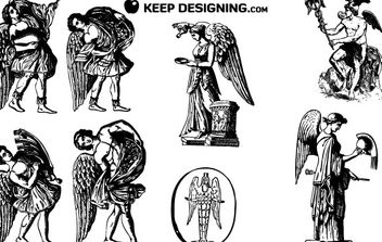 VINTAGE WINGED ANGEL VECTORS - vector gratuit #176793