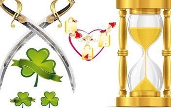 HEART-SHAPED LEAVES AND FUNNEL-KNIFE VECTOR MATERIAL - бесплатный vector #176843