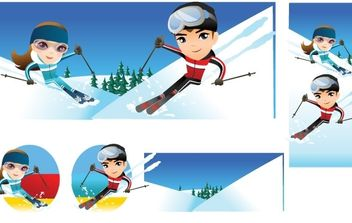 Snow boarding vector 10 - Free vector #176973