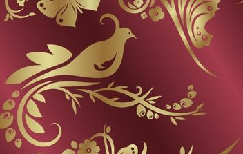 Number of golden flowers and birds butterfly pattern - vector gratuit #177043