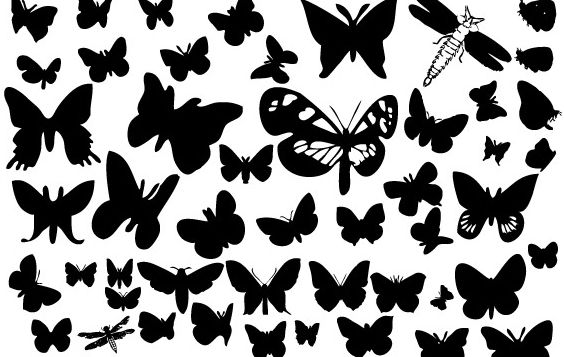 Butterfly silhouettes - Free vector #177433