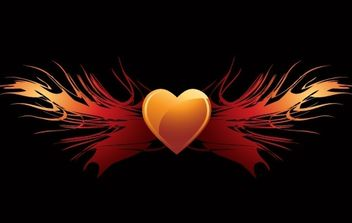 EPS vector flaming heart wings - Free vector #178423