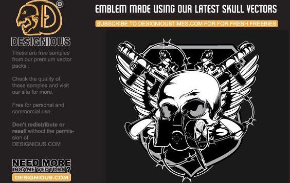 Free vector skull emblem - Free vector #178493