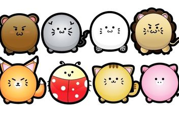 Cute Puffy Animals - Free vector #178593