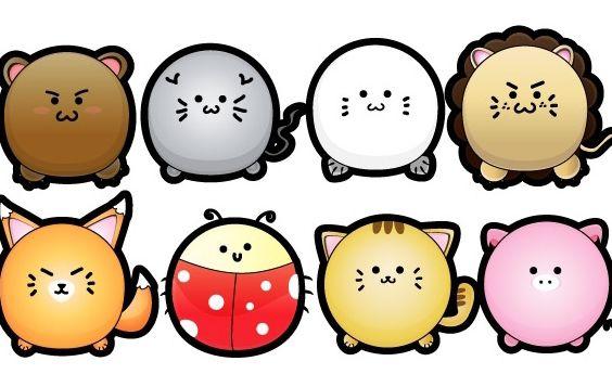 Cute Puffy Animals - Free vector #178593