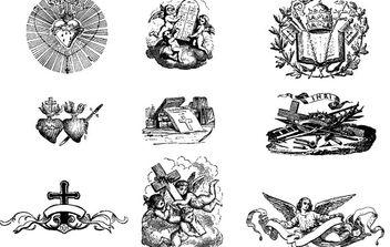 Vintage Vectors: Heraldy/angels/crown - Kostenloses vector #178953