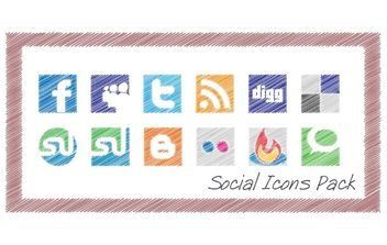 Scribble Social Icons Pack - Free vector #179203