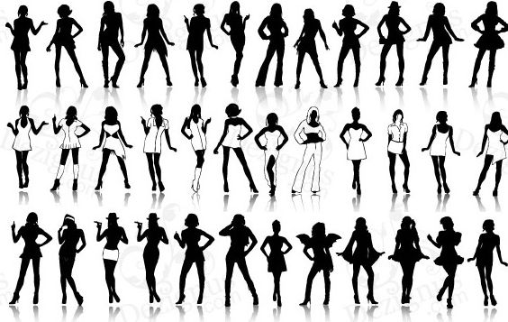Sexy Girls Silhouettes - Free vector #179393