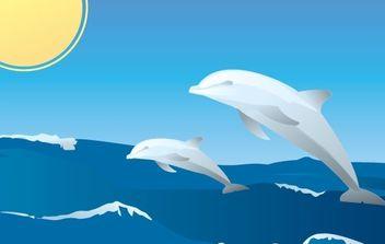 Happy Dolphins Vector - Free vector #179453