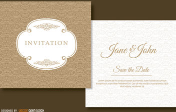 Brown swirls wedding invitation - Free vector #179483