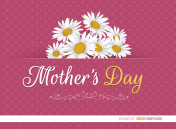 Mother's Day card daisies - vector gratuit #179513
