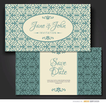 Turquoise floral marriage invitation - Free vector #179523