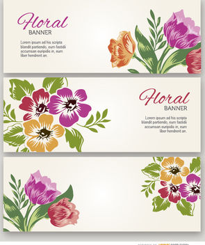 3 Painted flowers banners - Free vector #179533