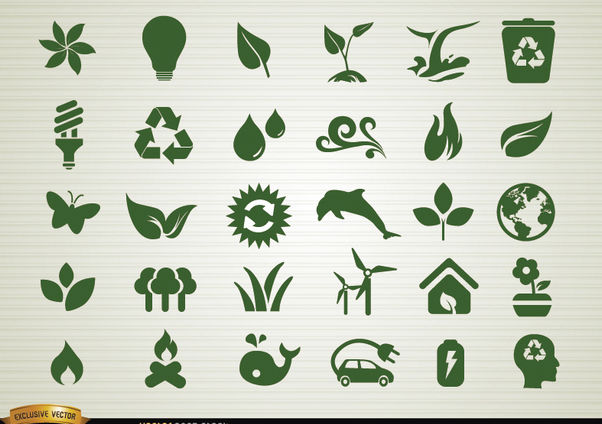 Environmental awareness icons set - бесплатный vector #179573
