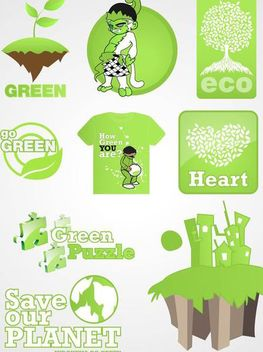 Ecological Go Green Design Set - Free vector #179613