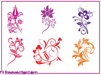 Swirling Colorful Flower Pack - Free vector #179643