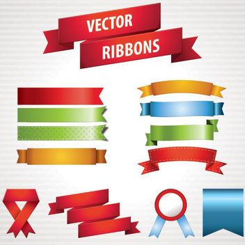 Colorful Ribbon & Badge Set - vector #179713 gratis