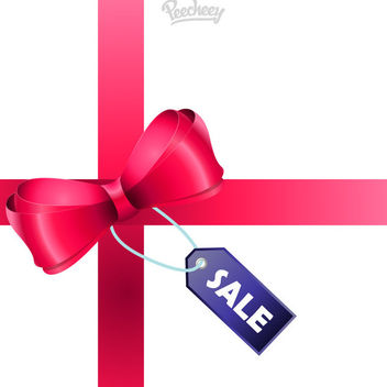 Sale Tag Glossy Ribbon Gift - Free vector #179733