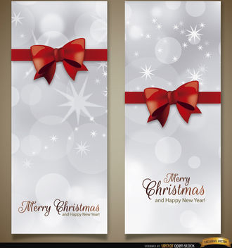 2 Christmas vertical ribbon bow bookmarks - Free vector #179743