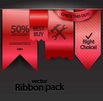 Glossy Hanging Style Red Ribbon Pack - Free vector #179753