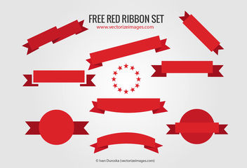 Flat Red Ribbon Banner Set - vector gratuit(e) #179763