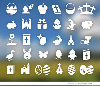 30 Holy week and Easter icons - Free vector #179803