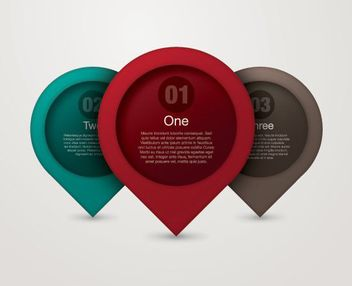 3 Multicolored Pin Placeholders - Free vector #179933