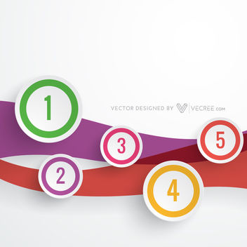Multicolored Numbered Circles on Wave Infographic - vector gratuit #180083